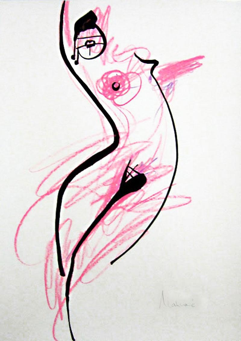 Akt-Abstrakt (24), Tuschmalerei auf Papier, 31 x 21 cm, Oxana Mahnac, 2007