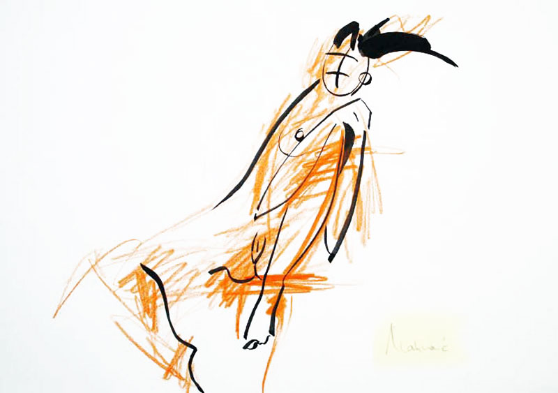 Akt-Abstrakt (31), Tuschmalerei auf Papier, 31 x 21 cm, Oxana Mahnac, 2007