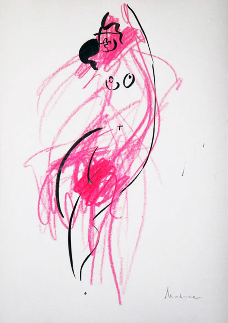Akt-Abstrakt (35), Tuschmalerei auf Papier, 31 x 21 cm, Oxana Mahnac, 2007