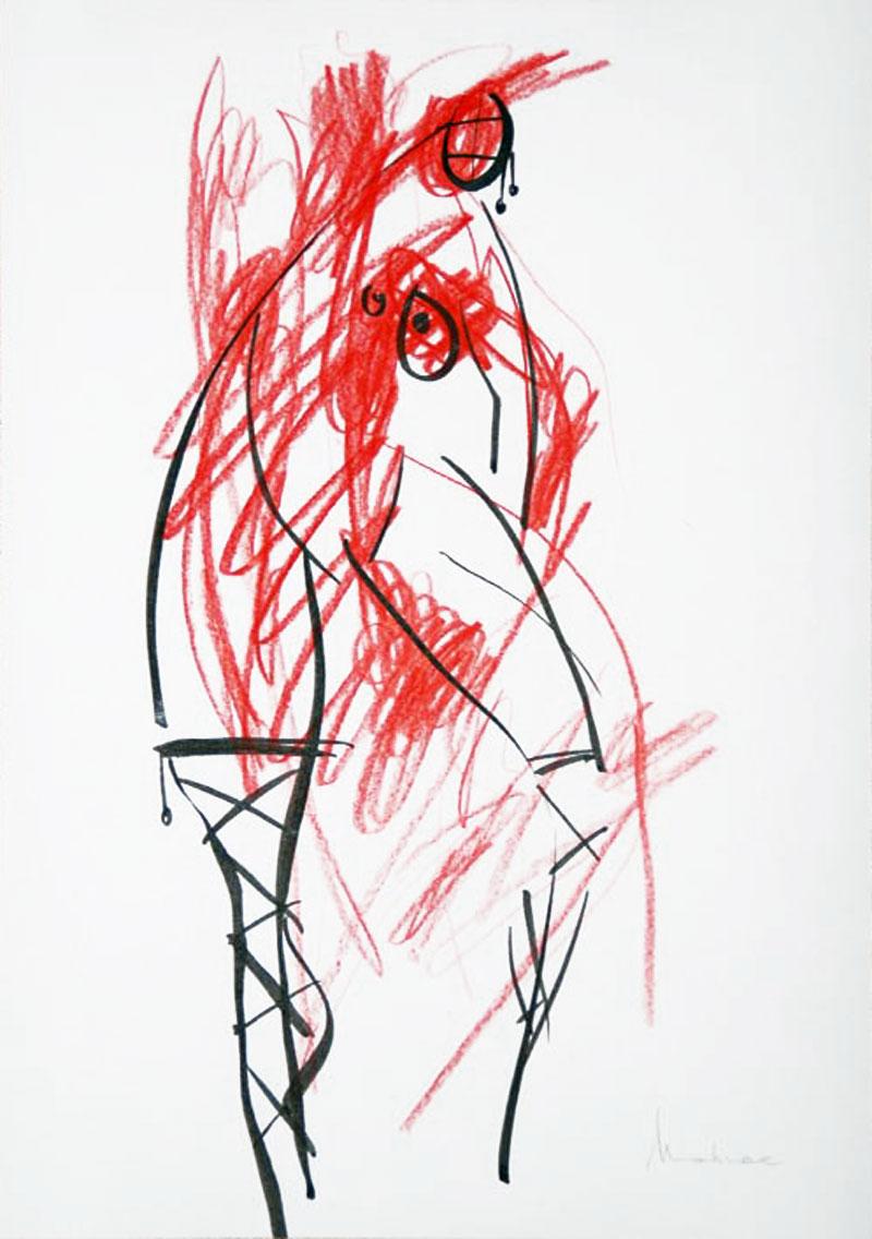 Akt-Abstrakt (38), Tuschmalerei auf Papier, 31 x 21 cm, Oxana Mahnac, 2007