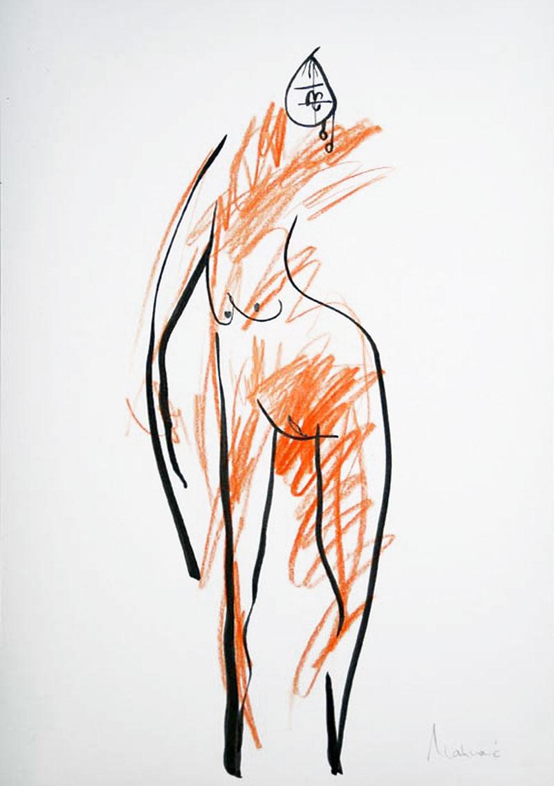 Akt-Abstrakt (42), Tuschmalerei auf Papier, 31 x 21 cm, Oxana Mahnac, 2007
