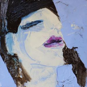 Himmel (Frauenpartrait #0001), 15 x 15 cm (5.9 x 5.9 in), Acryl auf der HDF-Malplatte, 2015