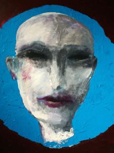 Frau mit blauen Haaren, 100 x 100 cm, Acryl auf Leinwand, Oxana Mahnac