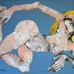 Akt (blau), Acryl auf Leinwand, 80 x 110 cm, Oxana Mahnac, 2011