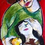 Mutter und Tochter, Mixed Media, Papier, 60 x 42 cm, Oxana Mahnac, 2014
