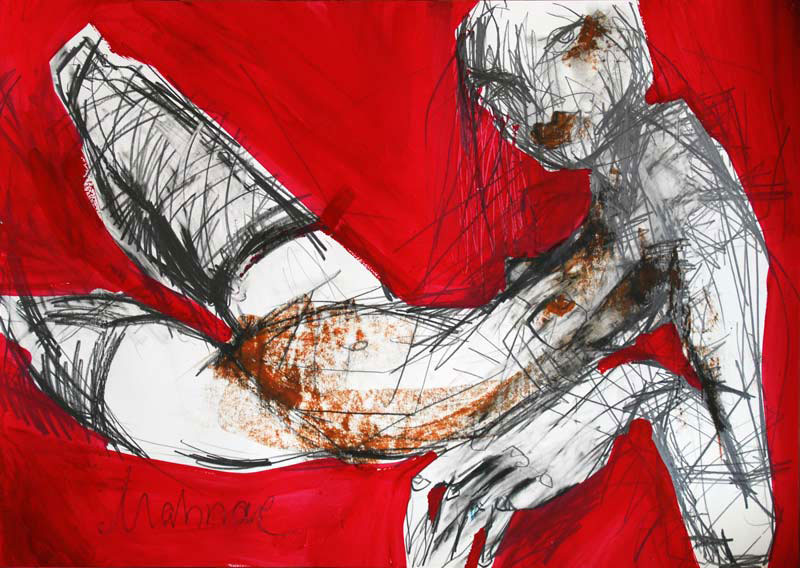 Frau in Srtümpfen, Mixed Media, Papier, 42 x 60 cm, Oxana Mahnac, 2011