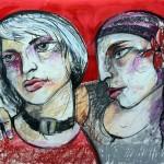 Freundinnen, 42 x 60 cm, Mixed Media auf Papier, Oxana Mahnac, 2015