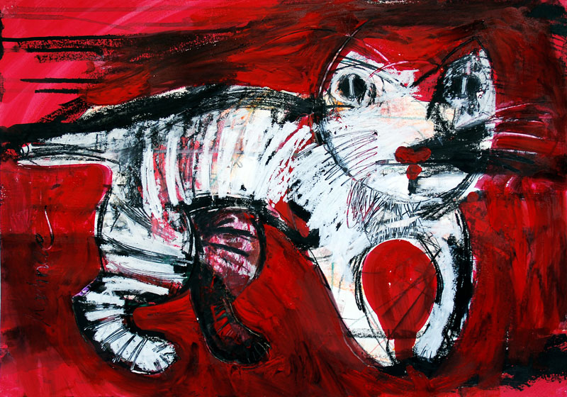 Gestreifte Katze, 42 x 60 cm, Mixed Media, Oxana Mahnac (sold)