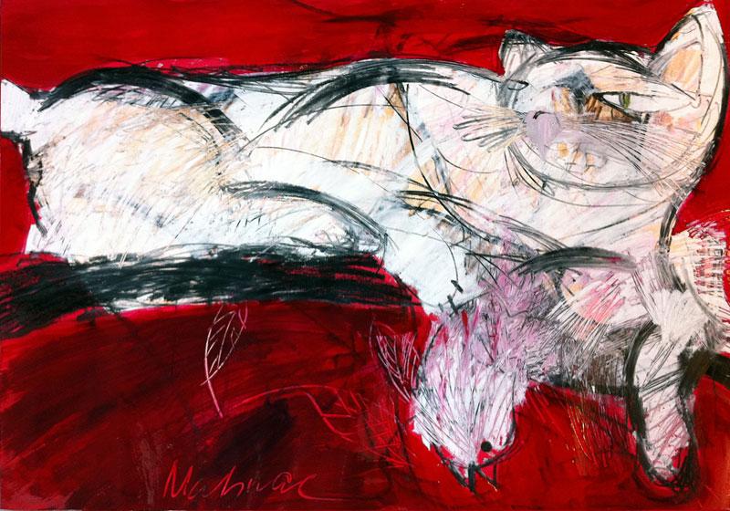 Katze und Vogel, 42 x 60 cm, Mixed Media, Oxana Mahnac