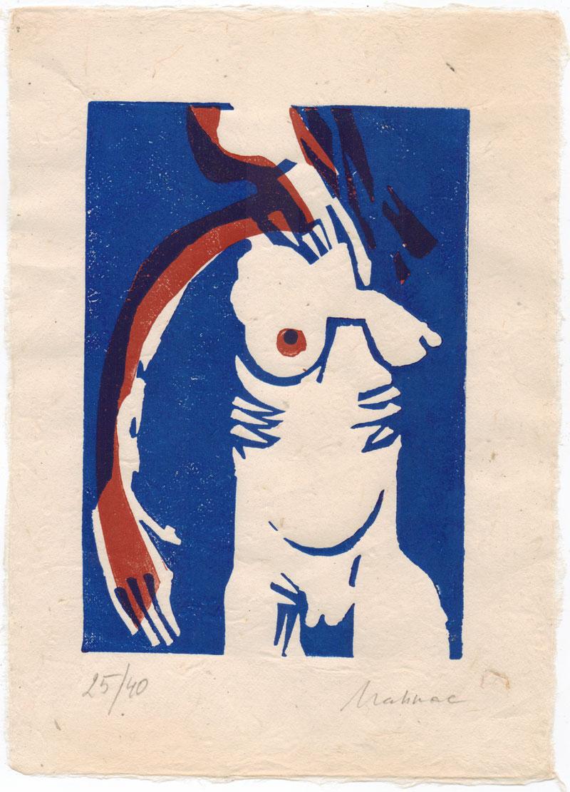 Linolschnitt-Linoldruck-Akt-blau-Mahnac