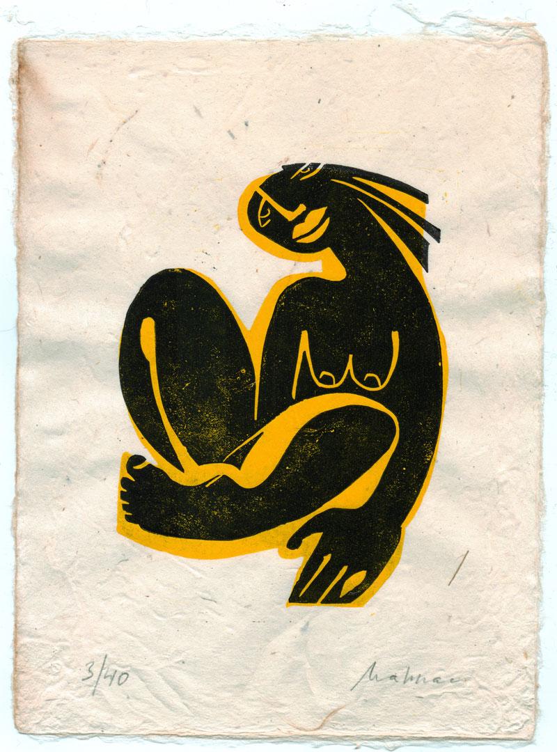Linolschnitt-Linoldruck-Akt-gelb-Mahnac
