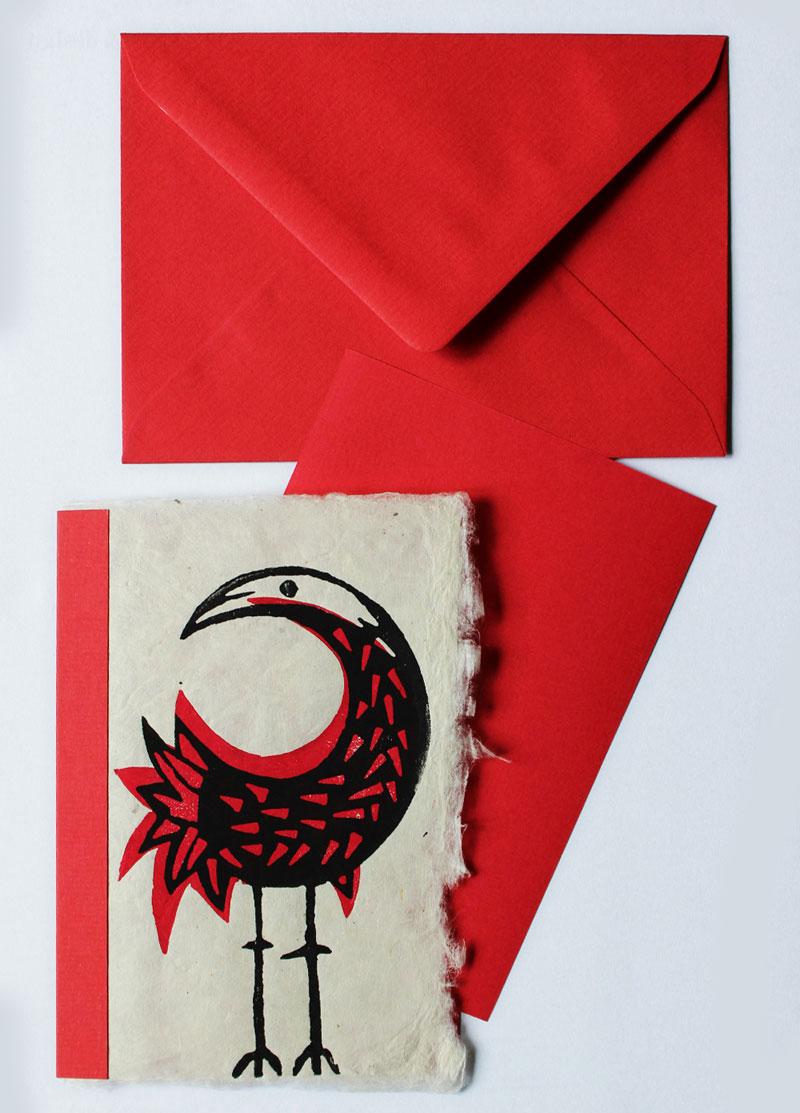 Vogel, Postkarte, Linolschnitt, handgeschöpftes Papier, Auflage 20, Oxana Mahnac, 2015