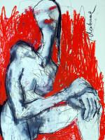 Lippenstift, Mixed Media, 60 x 42 cm, Oxana Mahnac