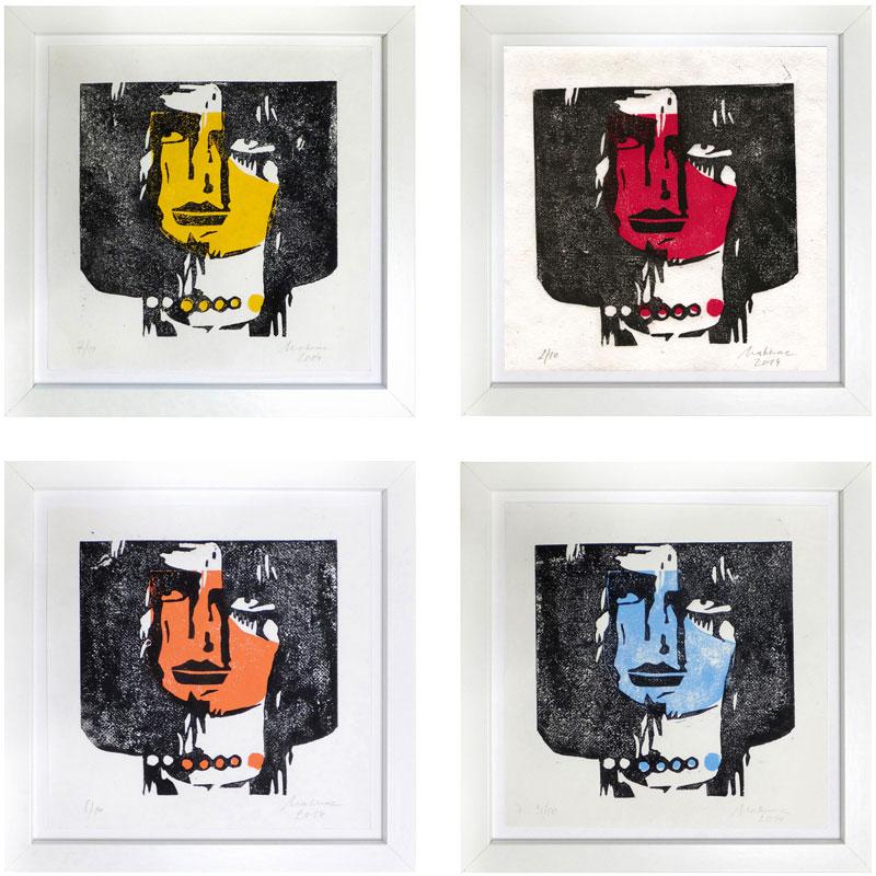 Faces, Linolschnitt, handgeschöpftes Papier, Auflage (pro Farbe) 10, Oxana Mahnac, 2015
