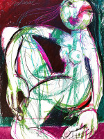 Sitzender Akt, Mixed Media, 60 x 42 cm, Oxana Mahnac
