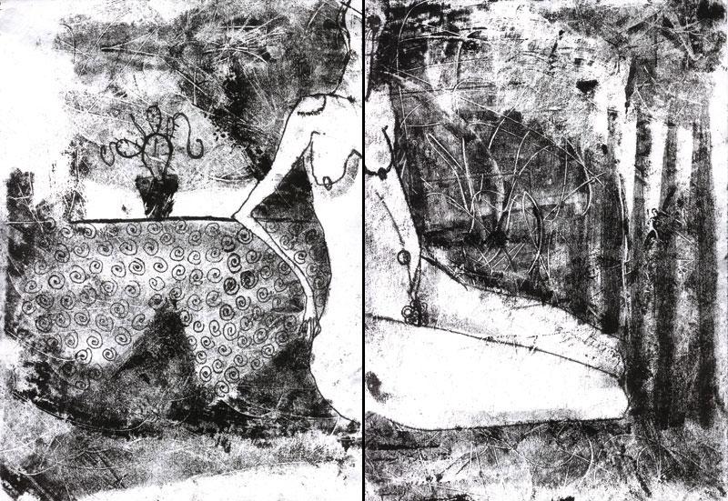 Nude mit dem Kaktus, Monotypie, 41 x 30 cm, Oxana Mahnac, 1998