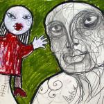 Puppenmeister, 42 x 60 cm, Mixed Media auf Papier, Oxana Mahnac, 2015