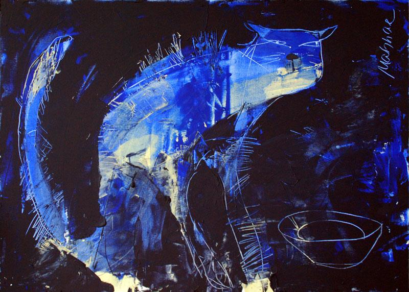 The Cat, Acryl auf Leinwand, 50x 70 cm, Oxana Mahnac, 2012