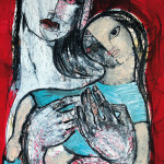 Töchterchen, 42 x 60 cm, Mixed Media auf Papier, Oxana Mahnac (sold)