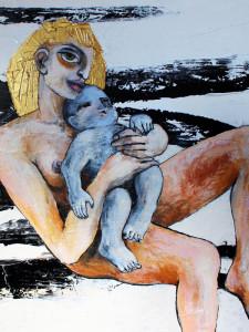 Blaues Kind, 100 x 100 cm, Acryl auf Leinwand, Oxana Mahnac