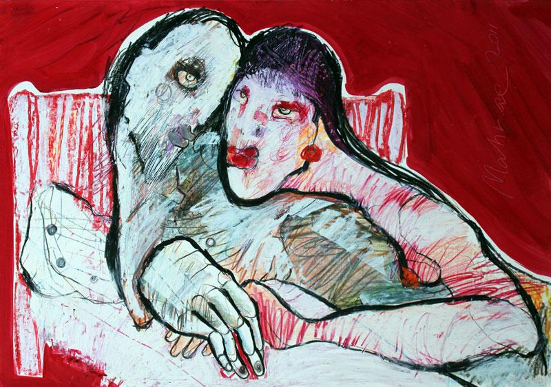 Das Paar, Mixed Media, Papier, 42 x 60 cm, Oxana Mahnac, 2013
