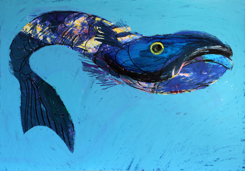 Blauer Fisch, 60 x 42 cm, Mixed Media, Oxana Mahnac