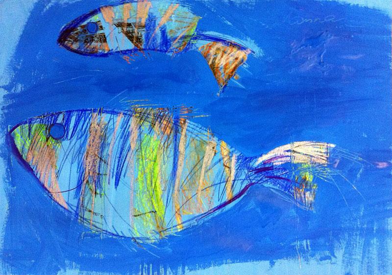Zwei Fische, 60 x 42 cm, Mixed Media, Oxana Mahnac