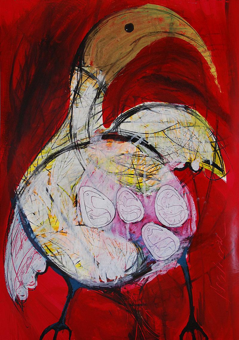 Gefühlter Vogel, 42 x 60 cm, Mixed Media, Oxana Mahnac