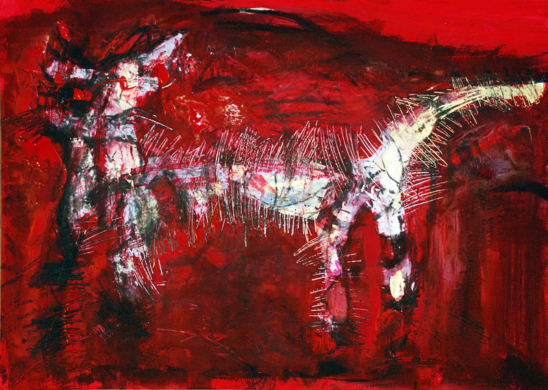 Arme Katze, 42 x 60 cm, Mixed Media, Oxana Mahnac (sold)