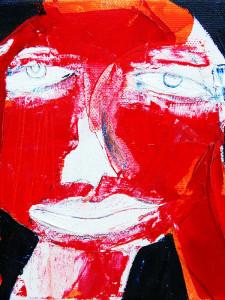 Rotes Gesicht, Acryl auf Leinwand, 15 x 15 cm, Oxana Mahnac (sold)