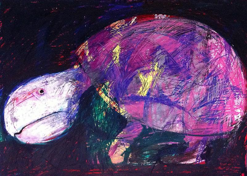 Alte Schildkröte, 60 x 42 cm, Mixed Media, Oxana Mahnac