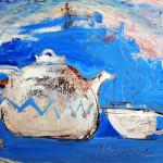 Teezeit, 42 x 60 cm, Mixed Media auf Papier, Oxana Mahnac (sold)
