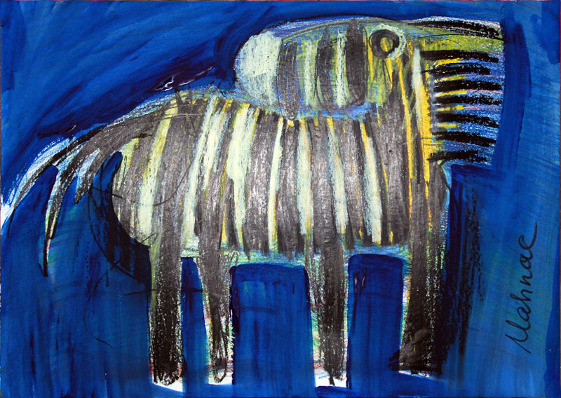 Zebra, 42 x 60 cm, Mixed Media, Oxana Mahnac (sold)