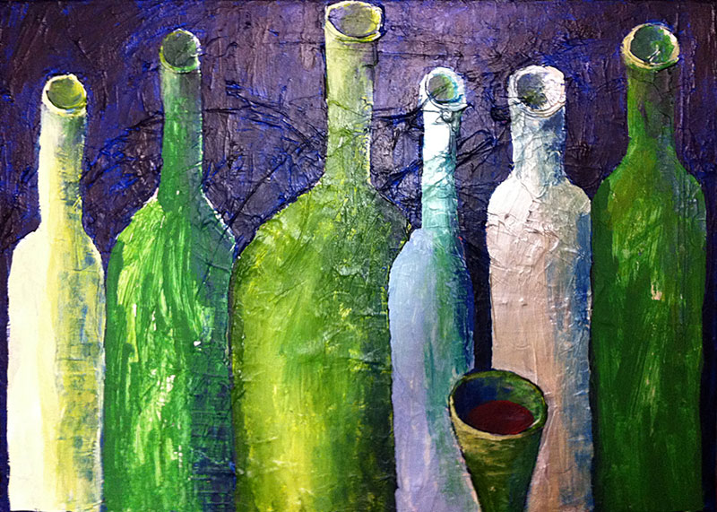 Stilleben (Flaschen), 50 x 70 cm, Acryl auf Leinwand, Oxana Mahnac, 2012
