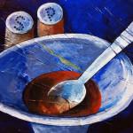 Naturmort mit der Suppe, 40 x 30 cm, Acryl auf Leinwand, Oxana Mahnac, 2014