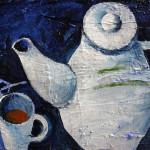 Naturmort mit dem Tee, 40 x 30 cm, Acryl auf Leinwand, Oxana Mahnac, 2014