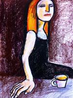 Junge Frau beim Tee, Mixed Media, 60 x 42 cm, Oxana Mahnac (sold)