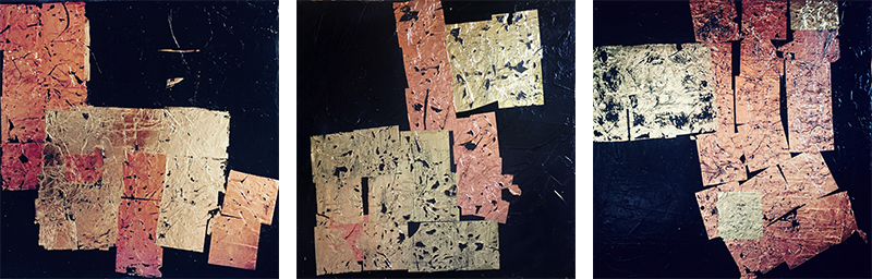Russisches Gold, abstrakte Malerei (Triptychon), Acryl auf Leinwand, je 50 x 50 cm, Oxana Mahnac, 2021